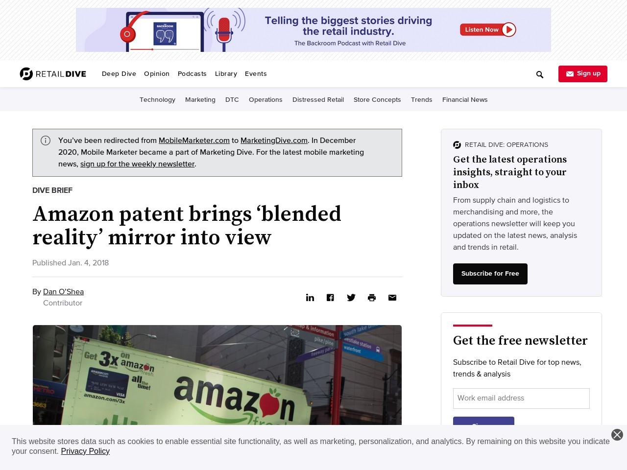 Amazon patent brings 'blended reality' mirror into view