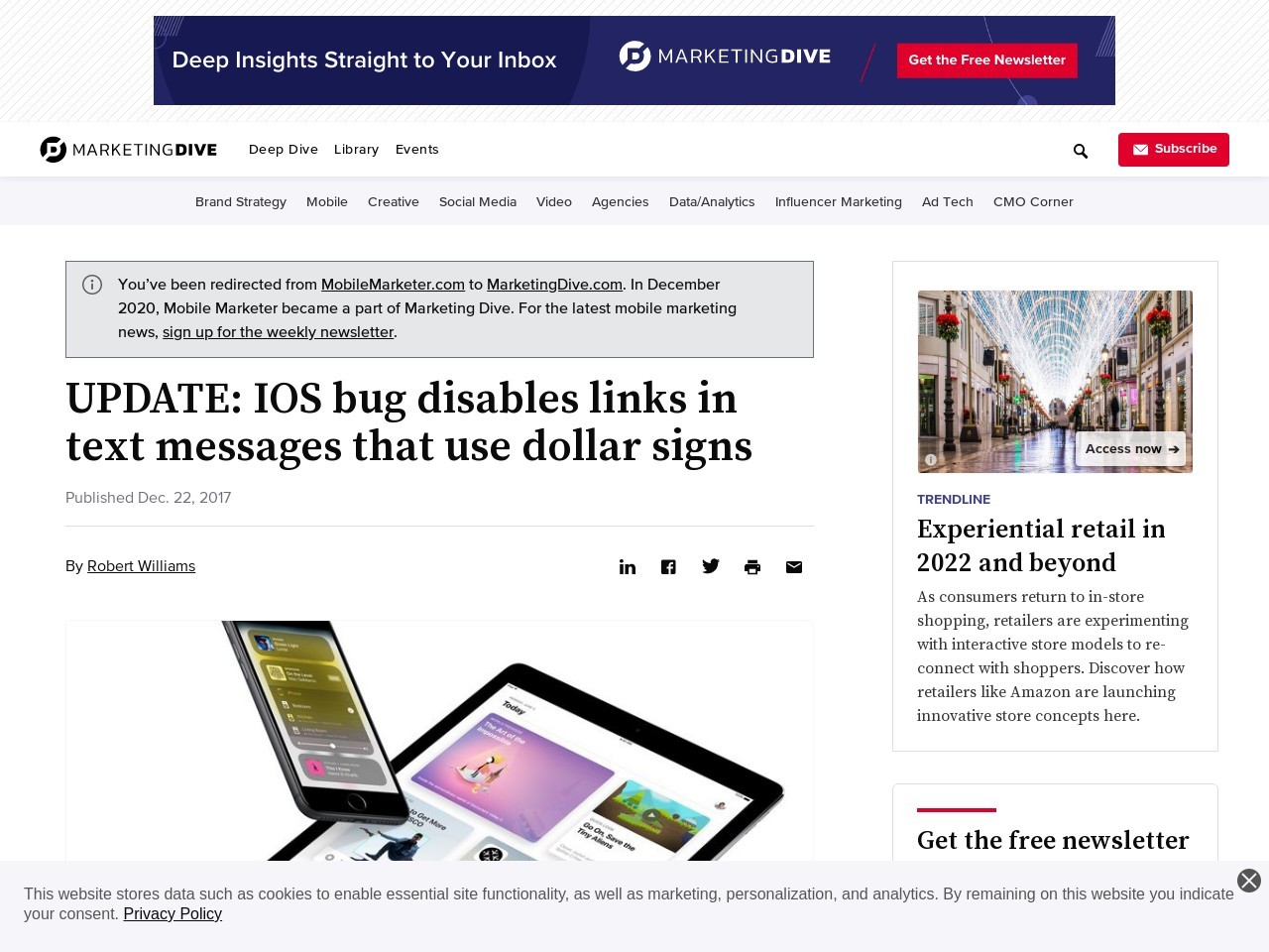 IOS bug disables links in text messages that use dollar signs
