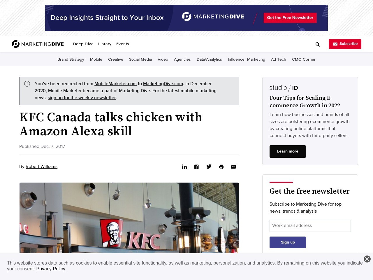 KFC Canada talks chicken with Amazon Alexa skill