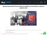 Monarch Innovation Private Limited Certified as a Great Place to Work in India for 2021