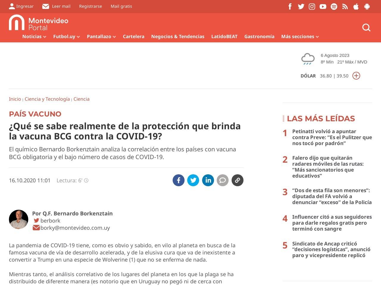 ¿Qué se sabe realmente de la protección que brinda la vacuna BCG contra la COVID-19?