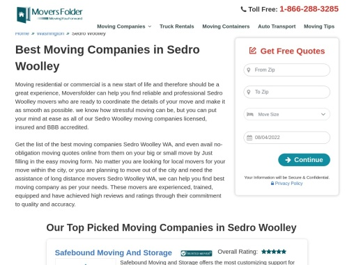 Sedro Woolley Movers for Your Local or Long Distance Moving Needs