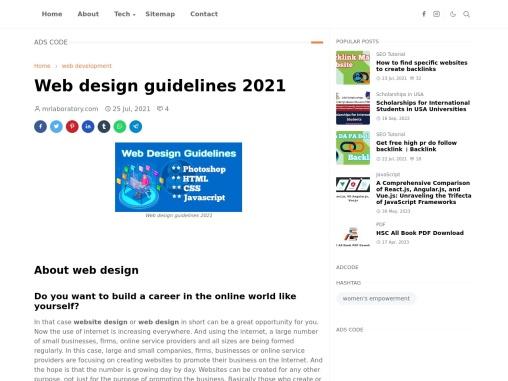 Web design guidelines 2021 mr laboratory