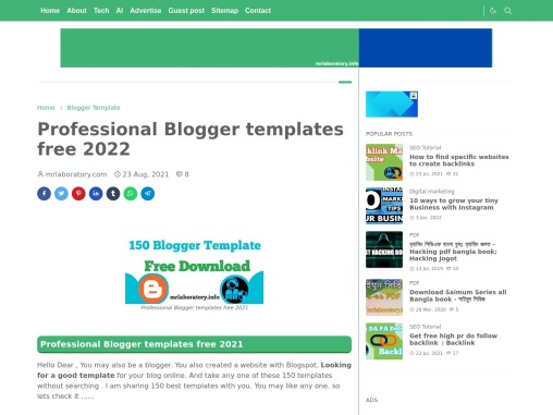 Professional Blogger templates free 2021