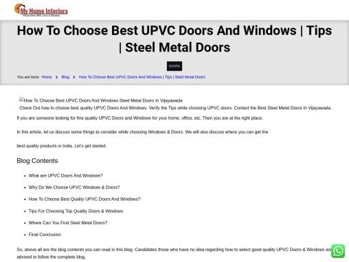 How To Choose Best UPVC Doors And Windows | Tips | Steel Metal Doors