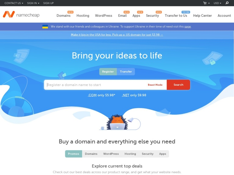 Namecheap screenshot