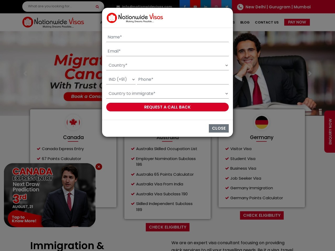 Best Immigration Consultants In Delhi For Canada PR | Nationwide Visas