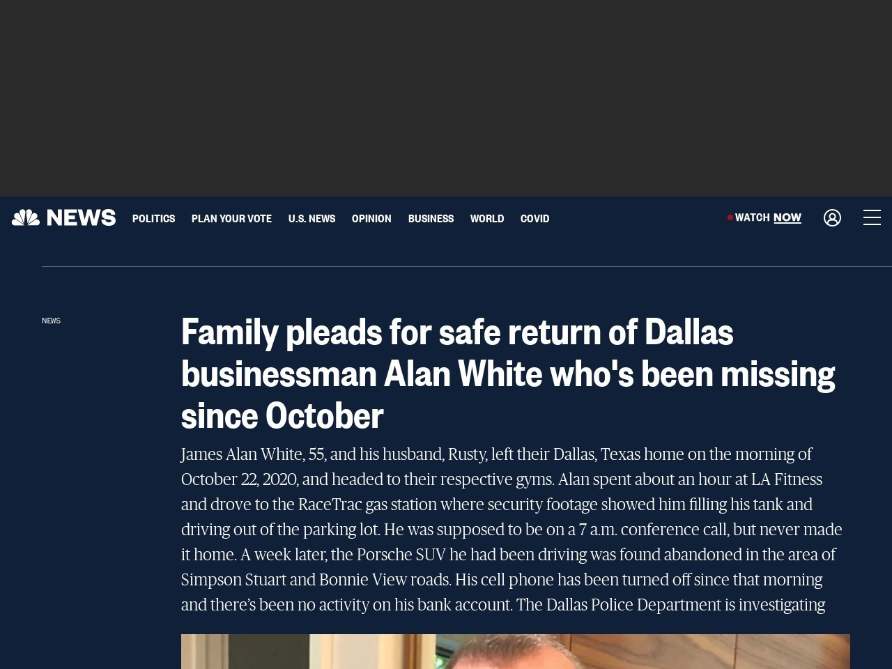 Family pleads for safe return of Dallas businessman Alan White who's been missing since October