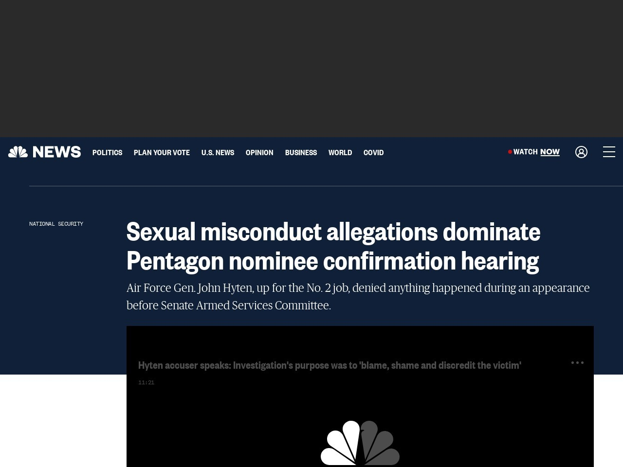 Sexual misconduct allegations dominate Pentagon nominee confirmation…
