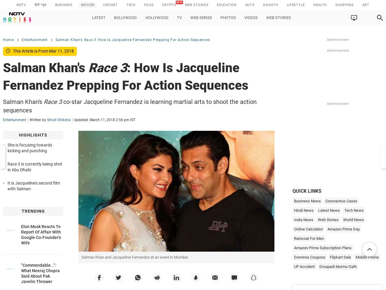 Salman Khan's Race three: How Is Jacqueline Fernandez Prepping For Motion…