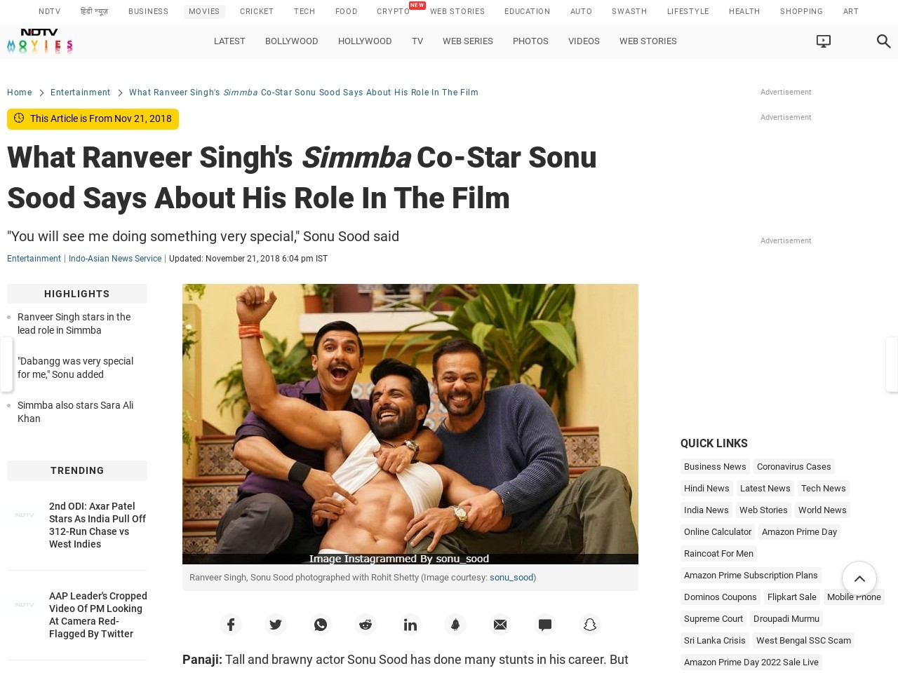 What Ranveer Singh's Simmba Co-Star Sonu Sood Says About His Role In…