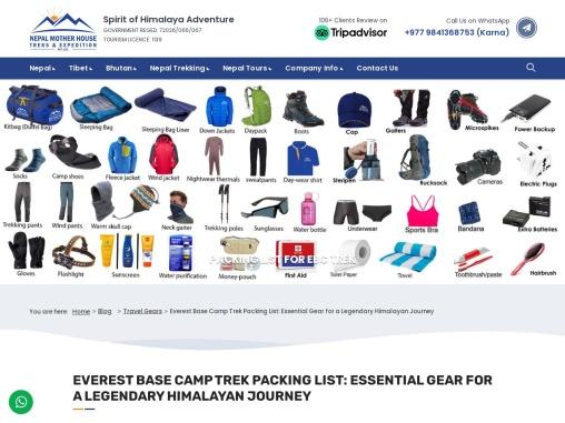 Guide for Everest Base Camp Trek Packing List