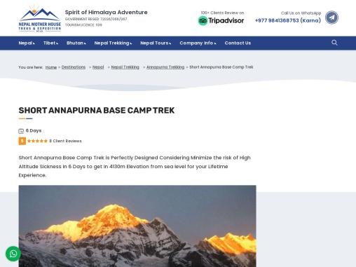Wonderful 6 Days ABC Trek beneath the 10th Highest Mountain in the World, -Mt. Annapurna I (8,091m)