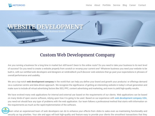 Web Development Company India   Website Development Services – NetDroidtech