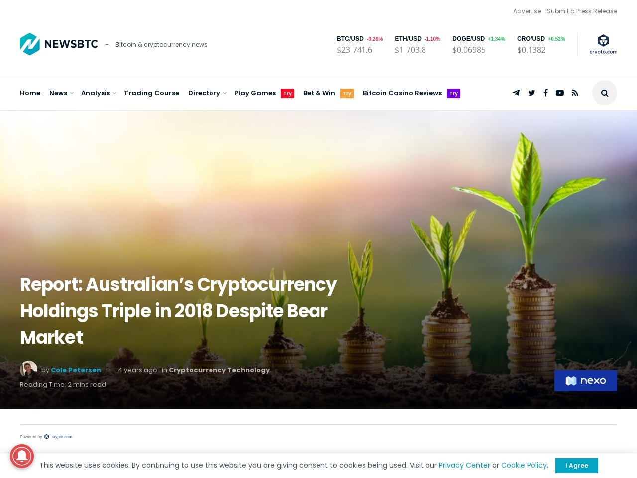 Report: Australian's Cryptocurrency Holdings Triple in 2018 Despite Bear Market