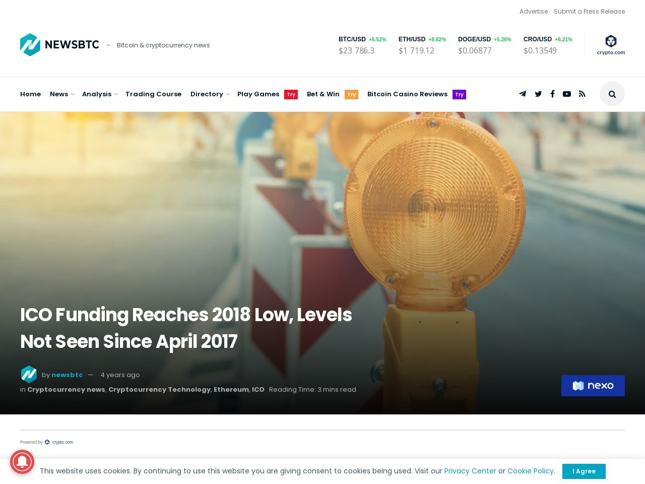 ICO Funding Reaches 2018 Low, Levels Not Seen Since April 2017