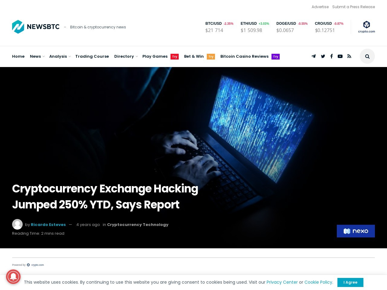 Cryptocurrency Exchange Hacking Jumped 250% YTD, Says Report