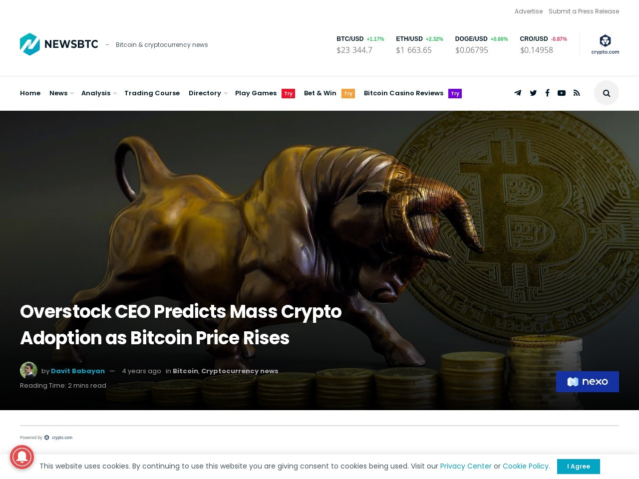 Overstock CEO Predicts Mass Crypto Adoption as Bitcoin Price Rises