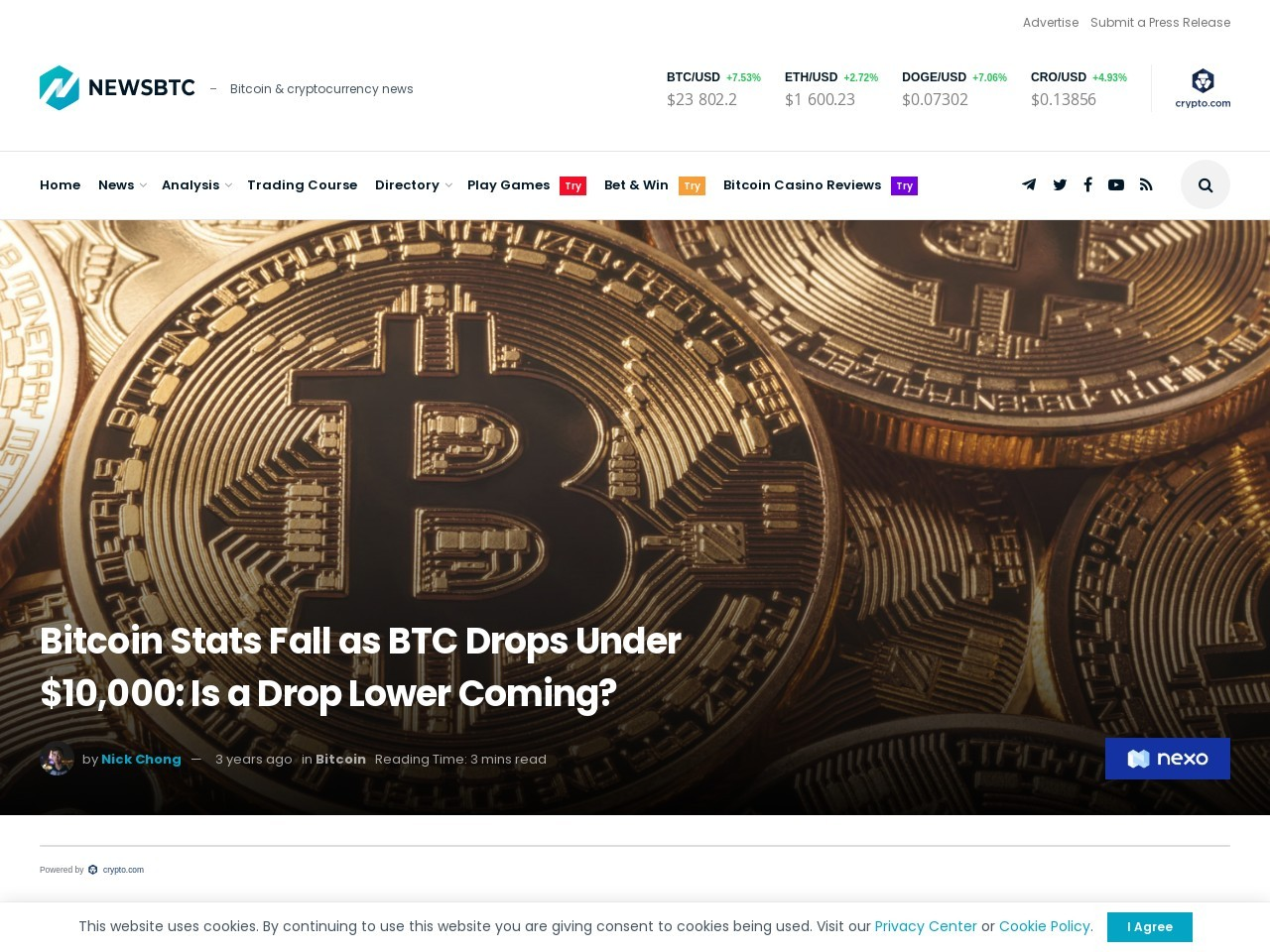 Bitcoin Stats Fall as BTC Drops Under $10,000: Is a Drop Lower Coming?