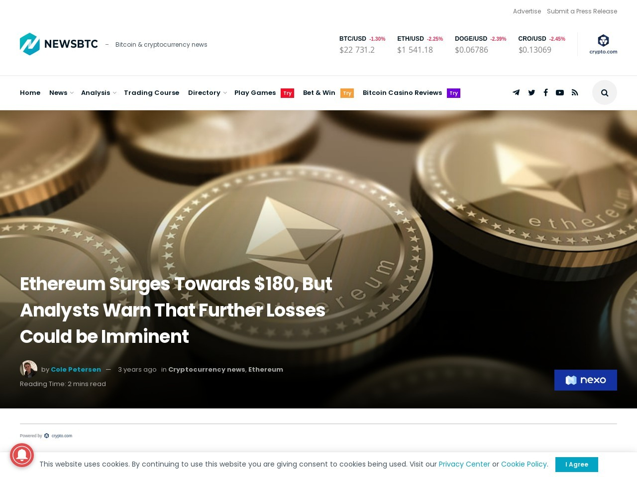 Ethereum Surges Towards $180, But Analysts Warn That Further Losses Could be Imminent