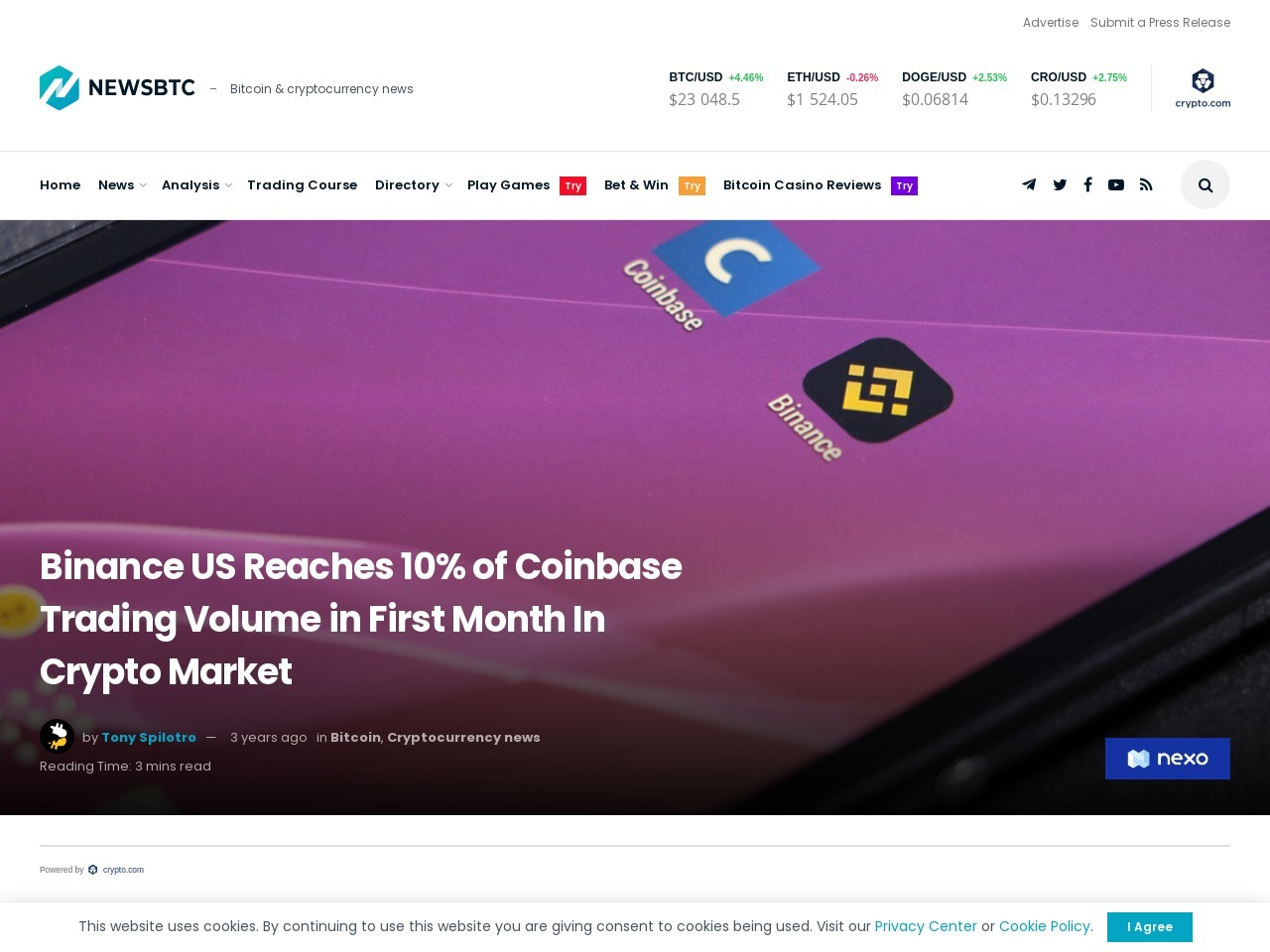 Binance US Reaches 10% of Coinbase Trading Volume in First Month In Crypto Market