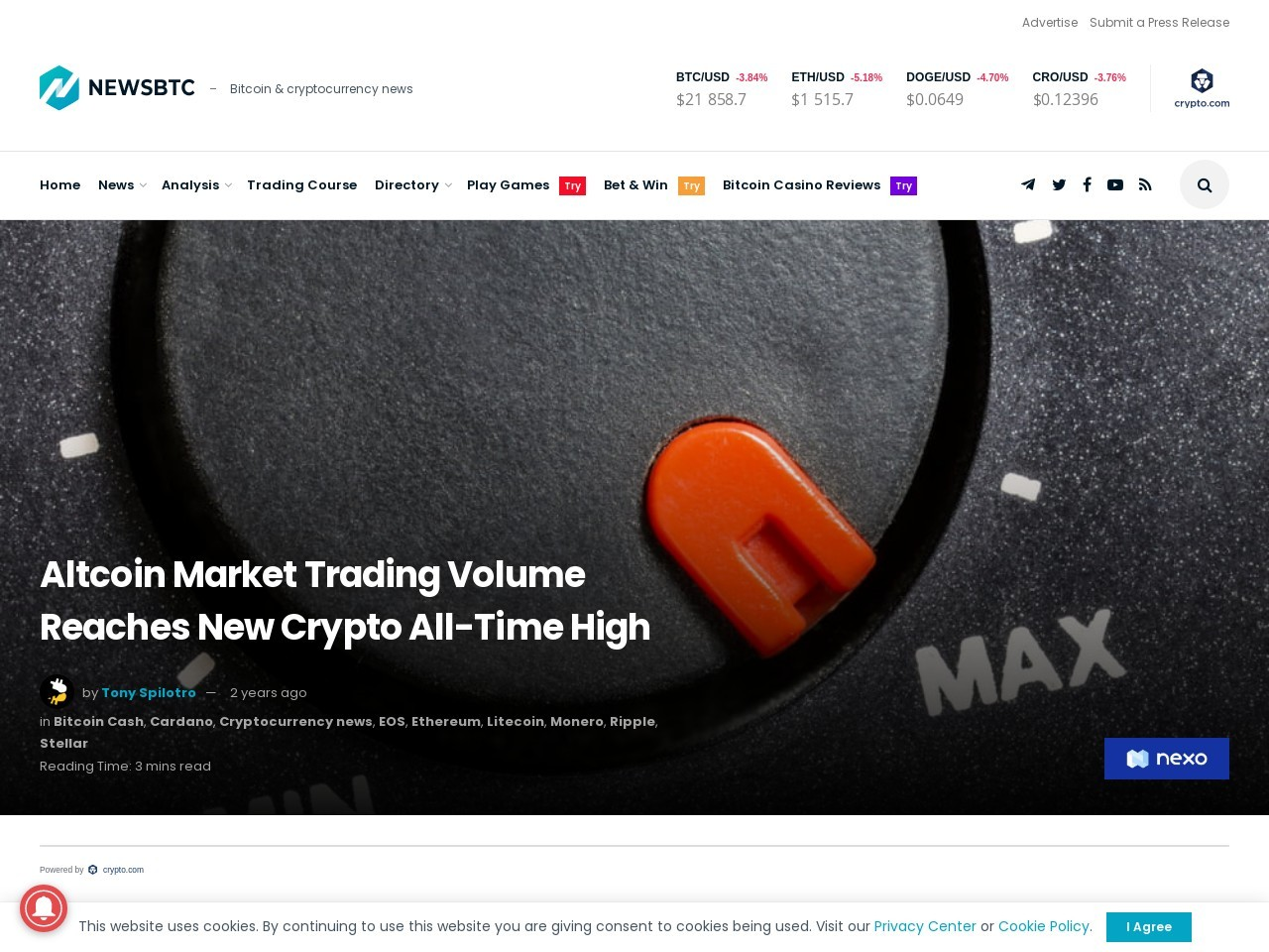 Altcoin Market Trading Volume Reaches New Crypto All-Time High