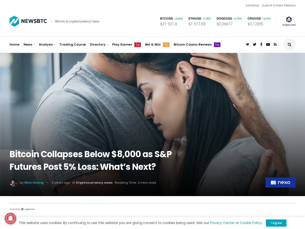 Bitcoin Collapses Below $8,000 as S&P Futures Post 5% Loss: What's Next?