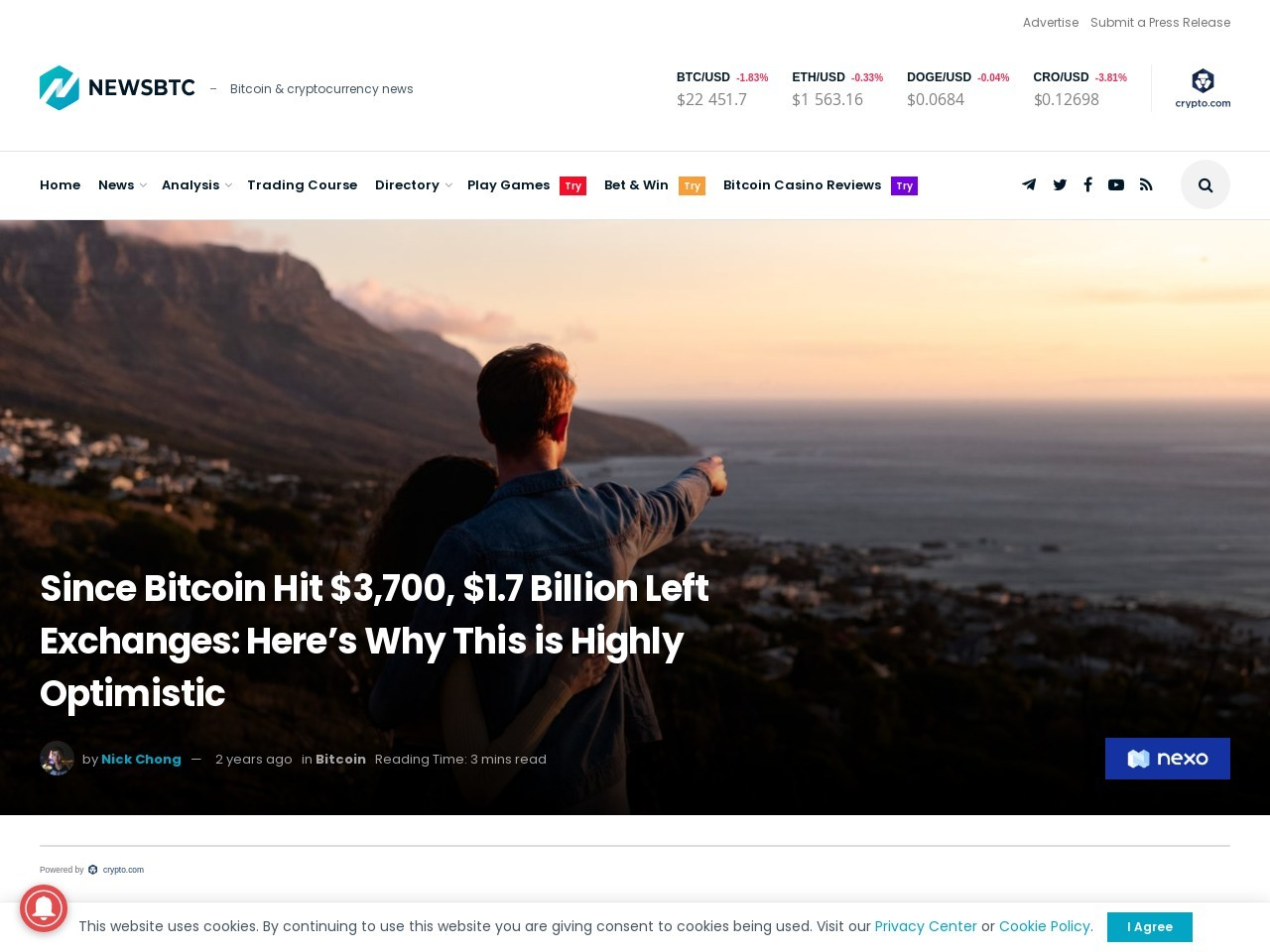 Since Bitcoin Hit $3,700, $1.7 Billion Left Exchanges: Here's Why This is Highly Optimistic