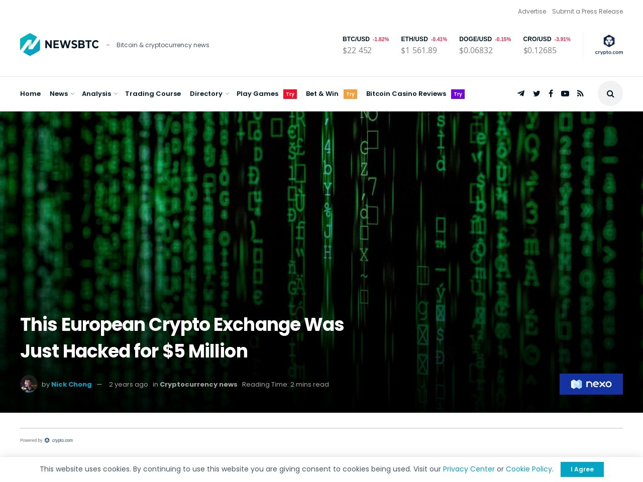This European Crypto Exchange Was Just Hacked for $5 Million