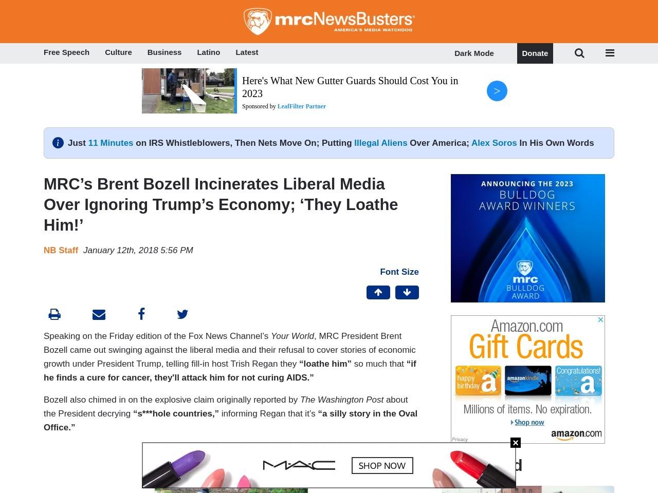MRC's Brent Bozell Incinerates Liberal Media Over Ignoring Trump's…