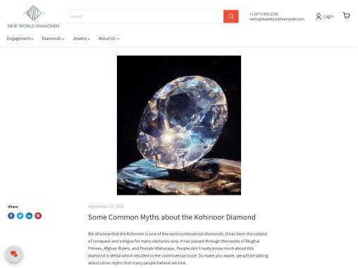 Some Common Myths about the Kohinoor Diamond