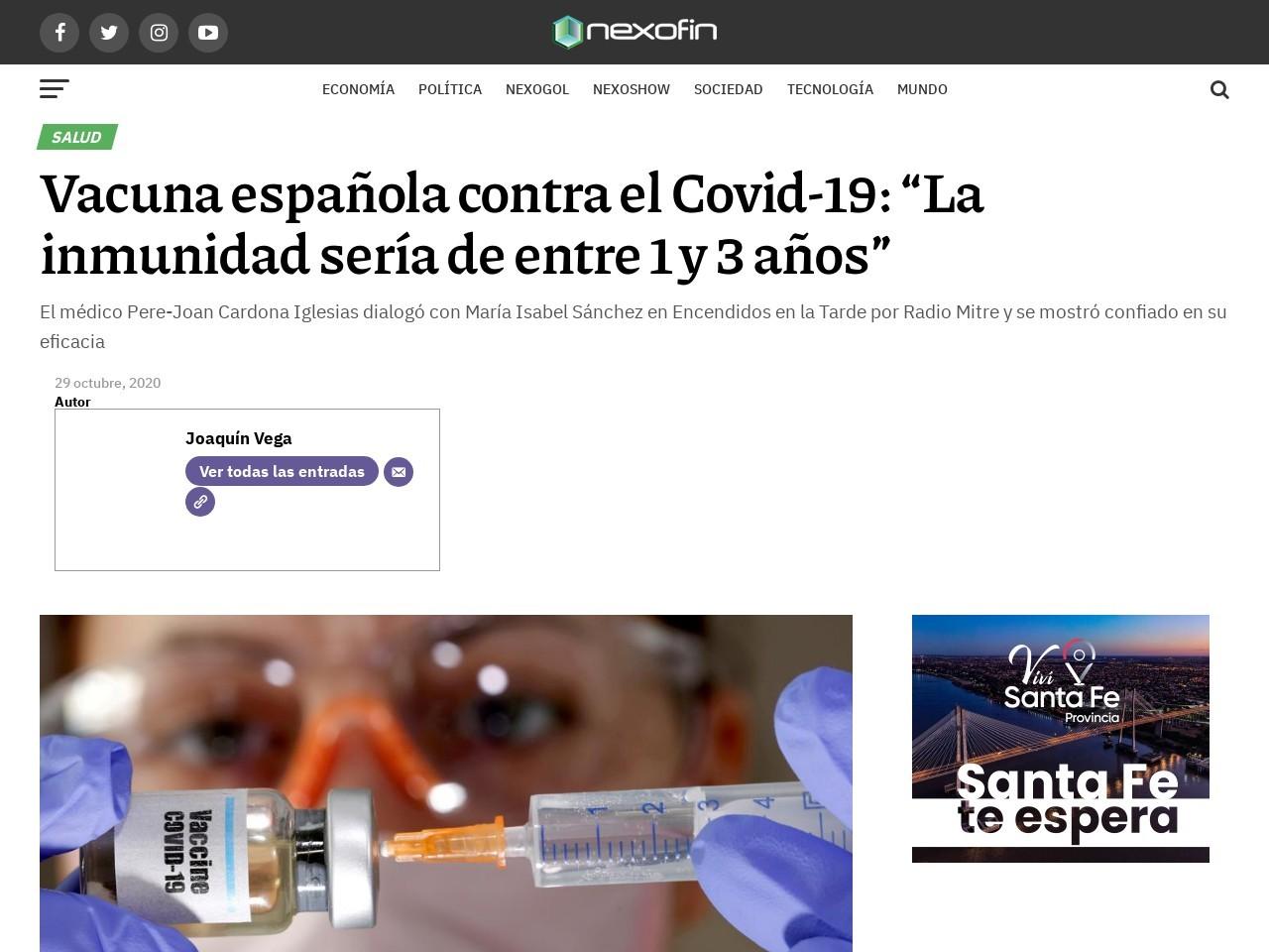 """Vacuna española contra el Covid-19: """"La inmunidad sería de entre 1 y 3 años"""""""