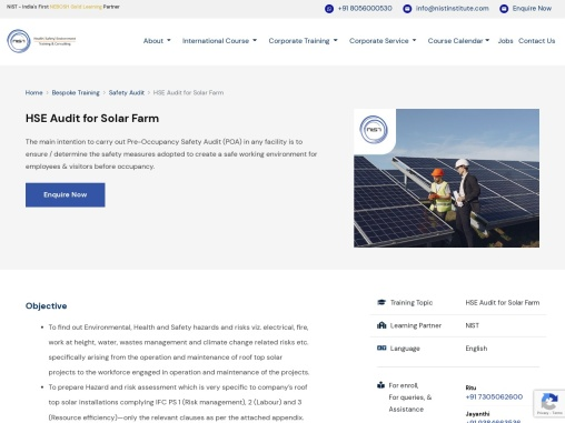 HSE Audit for Solar Farm in India