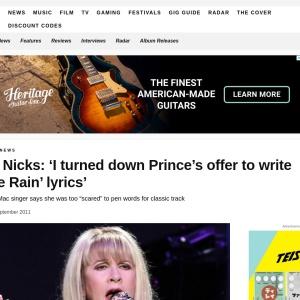 Stevie Nicks: 'I turned down Prince's offer to write 'Purple Rain' lyrics'