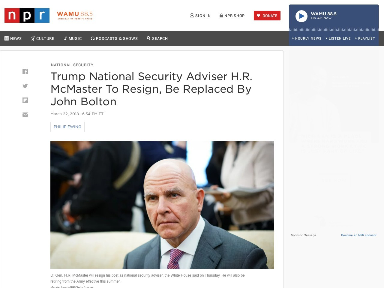 Trump National Security Adviser H.r. Mcmaster To Resign, Be Changed…