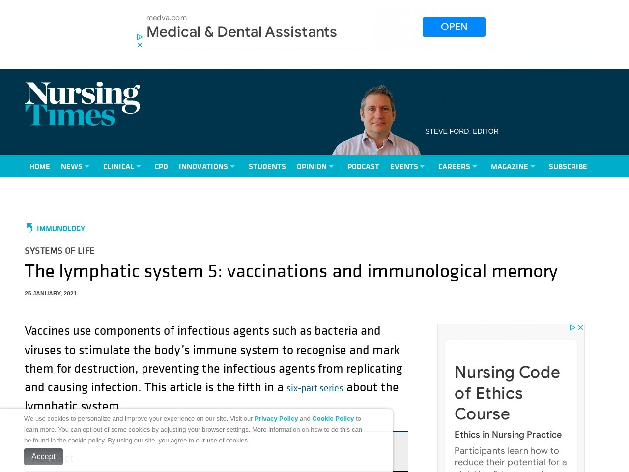 The lymphatic system 5: vaccinations and immunological memory