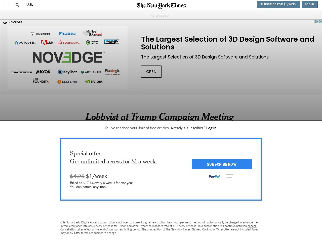 Lobbyist at Trump Campaign Meeting Has a Web of Russian Connections