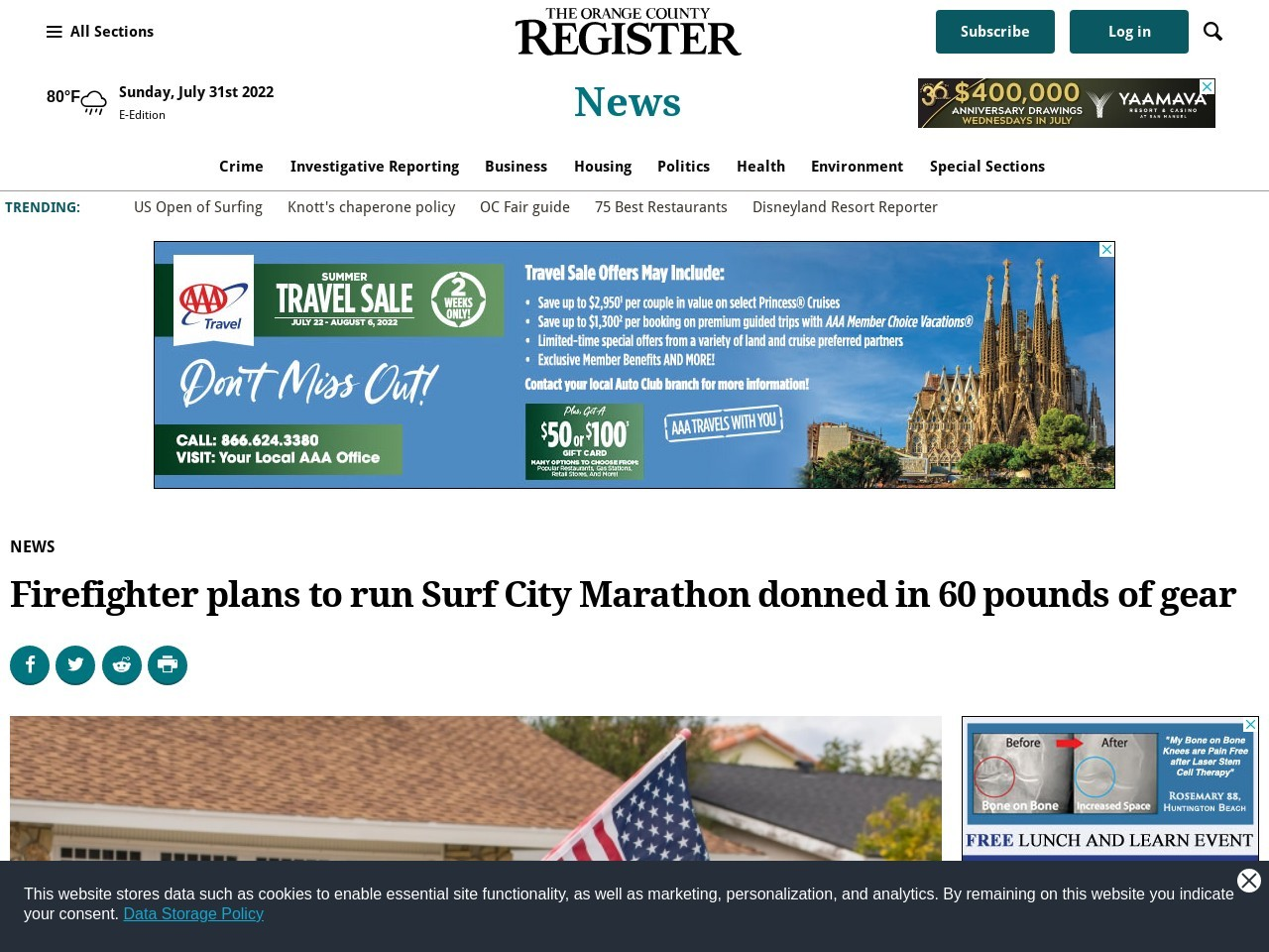 Huntington Beach firefighter plans to run Surf City marathon donned in…
