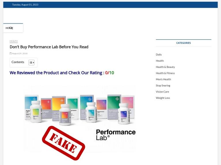Performance Lab screenshot