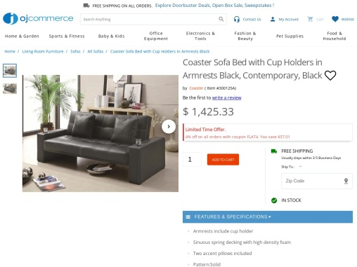 Sofa bed with cup holder armrest