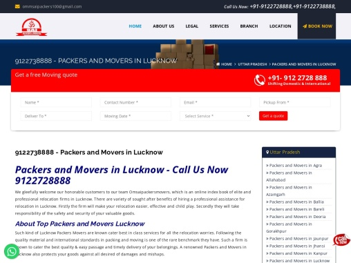 Packers and Movers in Lucknow Call Now – 9122728888
