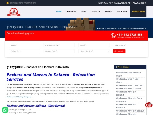 Packers and Movers in Kolkata Call Now – 9122728888