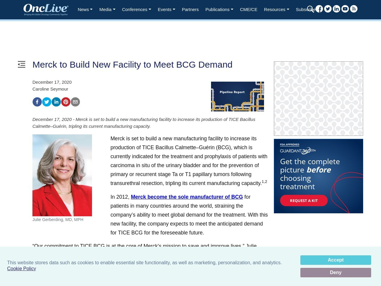 Merck to Build New Facility to Meet BCG Demand