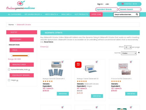 Buy Sildenafil Citrate Tablets Online | OnlineGenericMedicine.com