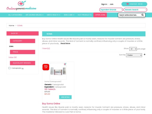 Buy Soma Online That Blocks Pain Sensations from OnlineGenericMedicine