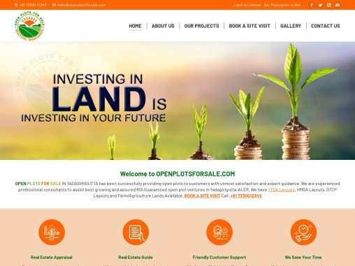 Open Plots for Sale in Yadagirigutta, YTDA, DTCP Approved Layouts Available Call: 7330012345