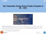 Automation Testing Services In UK | Top Automation Testing Service Providers In UK