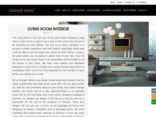 Grand Living Room & Hall Interior Designers Chennai | Orange Interior