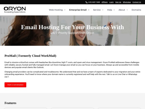 Oryon: Affordable Cloud Work Email For Your Business From $150 Yearly
