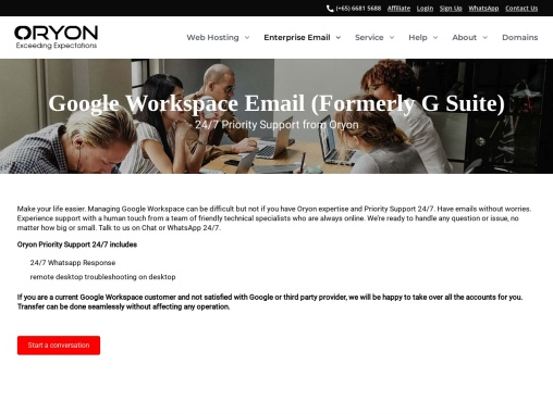 Priority Support From Oryon, G Suite Email By Google For Your Business